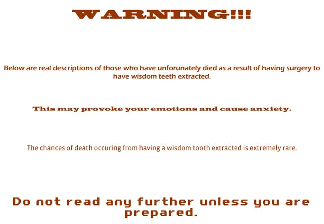 wisdom teeth death warning